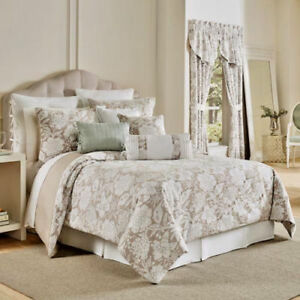 NIP Croscill Home Nellie Taupe/White Queen Comforter bedskirt & Shams Set