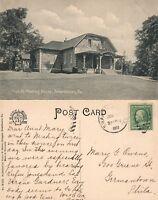 SWARTHMORE PA FRIENDS MEETING HOUSE 1909 ANTIQUE POSTCARD w/ CORK CANCEL