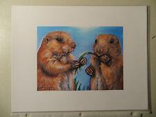 Kristine Kasheta - Open Edition Giclee Print ~ Two Prairie Dogs Sharing 11X8.5