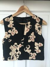 Sister Jane Crop Blouse Top Sleeveless Size S Floral Blossom Print Black Pink