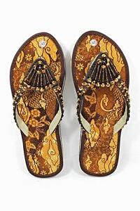 Batik Fabric Flat Women Shoes Brown With Glittering Beads