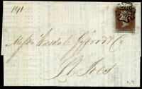 Printed Corn Report 1841 SG7 1d Red Black Plate 9 (PA) c£325.00