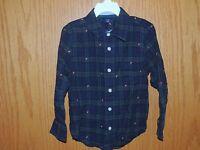 Boys Baby Gap Blue & Green Button Down Long Sleeve Shirt Size 5T