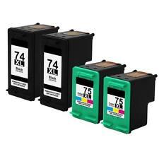 4 PK Reman HP 74XL 75XL Photosmart C4345 C4435 C4480 C4240 C4280 Printer