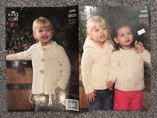 "King Cole Aran Knitting Pattern 3098 Girls Cardigan & Jumper 18""-24"" (2469) M1"