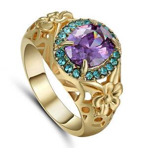 Purple Amethyst Wedding Ring 10KT Yellow Gold Filled Men/Women's Size 6