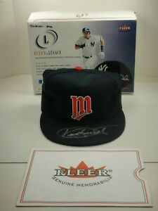 KIRBY PUCKETT SIGNED FLEER & BECKETT AUTHENTIC MINNESOTA TWINS HAT AUTOGRAPHED