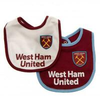 West Ham United FC 2 Pack Baby Bibs Football Team Supporter Baby Shower