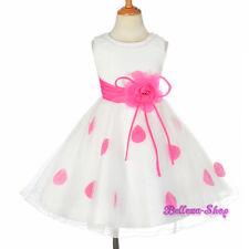 Rhinestone Ivory Hot Pink Petals Dress Wedding Flower Girl Party Size 2-10 FG294