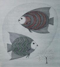 Rare Keiko Minami Aquatint etching limited print 30/50 fish coral signed framed
