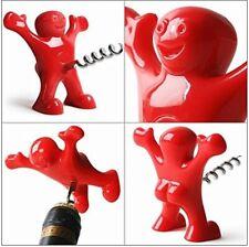 Creative Sacacorchos Happy Man vino Abrebotellas rojo con tapones de Acero Inoxidable