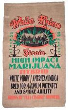 WHITE RHINO BURLAP BAG #21 feed bags gunny sack novelty marajuana pot leaf decor