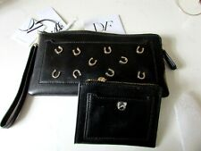 RARE DIANE VON FURSTENBERG GOOD FORTUNE HORSESHOE LEATHER CLUTCH PURSE