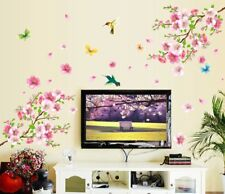 Home Cherry Blossom Flower Wall Sticker Butterfly Tree Art Decal Sticky LA3