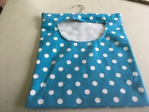 Hand Made Laundry Peg Bag With Wooden Hanger Polka Dot Canvas Fabric Blueish