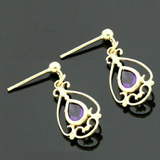 9ct  Yellow Gold Victorian Style Genuine Amethyst Drop Earrings - UK Made