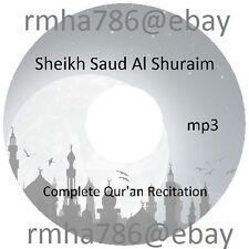Sheikh Saud Al Shuraim Full Quran Recitation mp3 CD (no translation) Islam