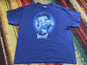 Betty Boop Boxing knockout t-shirt Navy blue Heavy weight Cotton XL