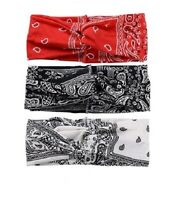 Lot of 3 Red White Black Paisley Bandanna Head Wrap Sweatband Headband Hair Band