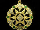 P033 Genuine 9K 9ct Yellow Gold NATURAL Emerald & DIAMOND Pendant Vintage style