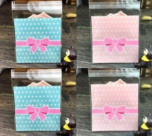 Biscuit Cookie Sweet Plastic Self Seal Sealed Food Bags Bow Pink Blue 7cm x 7cm