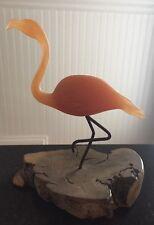 Vintage Pink Flamingo Art Sculpture by John Perry on Manzanita Burl Wood Base