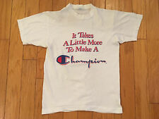 Rare Vintage 1970's Champion Blue Bar T-Shirt Made In Usa Size Small!