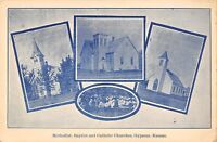 Gypsum KS~Multi Mini View~Methodist Baptist Catholic Churches~Camp Meeting~1910