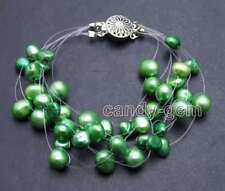 "SALE 6-9mm Green BAROQUE Natural Pearl 9 strands 7.5"" Starriness Bracelet-bra400"