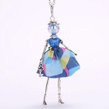 Kette Puppe Fashion Perle Anhänger Silber Blau Damen Neu Vintage Gelb Schlüssel