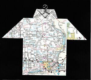 Origami Map Shirt Iowa, Davenport, Clinton, Moline, Macquoketa, Muscatine, Miles