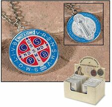Display of (24) Saint Benedict Silver Epoxy Enamel Medal Pendant Booklet & Pouch