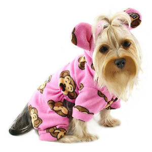 Klippo Dog Clothes Silly Monkey Fleece Dog Pajamas Hooded Pink XS-XL Puppy