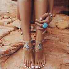 Boho Beach Turquoise Beads Tassel Chain Anklet Barefoot Sandals Jewelry Bc121