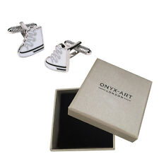 Mens White Sneaker Trainers Cufflinks & Gift Box - By Onyx Art