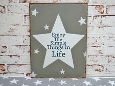 "Metallschild ""Enjoy the simple things in Life"" Deko Schild, Bild im Vintage Stil"