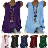 Plus Size Women Cotton Linen Sleeveless Baggy T-shirt Vest Blouse Tank Top S-5XL