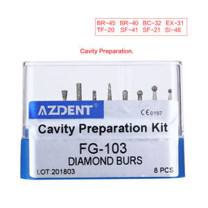 AZDENT Dental Diamond Burs Set Cavity Preparation FG-103 Blue 8Pcs/KIt