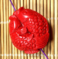 22x26mm red cinnabar carved fish pendant beads 5PCS