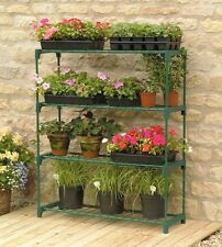 Gardman Double 4 Tier Steel Mini Garden Greenhouse Staging Shelving Plant Stand