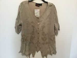 Indian Tropical Fashion XXL 100% Rayon Button Down Light Tan Top NWT! (#CB45-4)