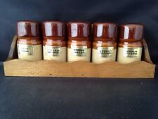Vintage Wooden Wall Hanging Kitchen Herb Spice Rack With 5 Ceramic Jars 70s