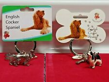 Little Gifts English Cocker Spaniel Dog Key Chain With Charms Pewter Enamel