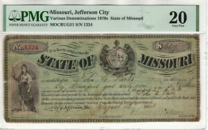 1874 $669 CIVIL WAR CLAIM STATE OF MISSOURI JEFFERSON CITY PMG VERY FINE VF 20