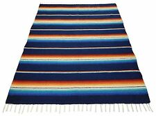 #776 Blanket Throw Sarape Bed Cover Navy Mexico Beach Yoga Mat Travel Wrap 5'x7'