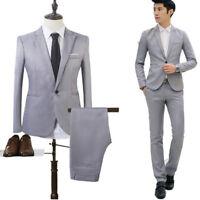 2Pcs Mens Blazer Suit Business Party Wedding Jacket Pants Suit Casual Dress Coat