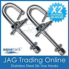 2 x STAINLESS STEEL Water Ski Boat Transom Tow Hooks