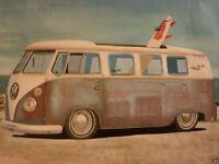 Hand oil painting canvas ART volkswagen van beach surfboard surfing#A97 No Frame