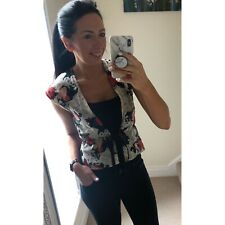 Cream Red Black Floral Sleeveless Top Waistcoat Size Small From Minkie