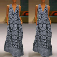 Women Sleeveless Bohemia Retro Long Maxi Dress Summer Beach Party Sundress Plus
